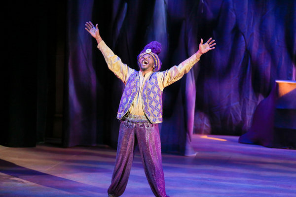 """Jay Donnell stars as """"The Genie"""" in the LAGUNA PLAYHOUSE & LYTHGOE FAMILY PANTO production of """"ALADDIN AND HIS WINTER WISH"""" - Directed and Choreographed by Spencer Liff and now playing at the Laguna Playhouse in Laguna Beach."""