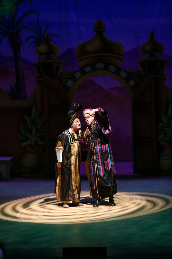 "Barry Pearl and Josh Adamson star in the LAGUNA PLAYHOUSE & LYTHGOE FAMILY PANTO production of ""ALADDIN AND HIS WINTER WISH"" - Directed and Choreographed by Spencer Liff and now playing at the Laguna Playhouse in Laguna Beach."