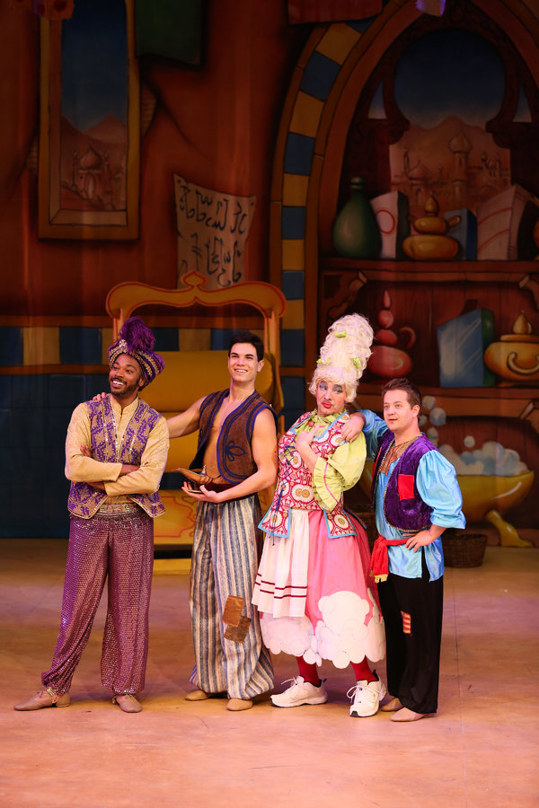 """Jay Donnell, Jason Gotay Jason Graae and Jason Earles star in the LAGUNA PLAYHOUSE & LYTHGOE FAMILY PANTO production of """"ALADDIN AND HIS WINTER WISH"""" - Directed and Choreographed by Spencer Liff and now playing at the Laguna Playhouse in Laguna Beach."""