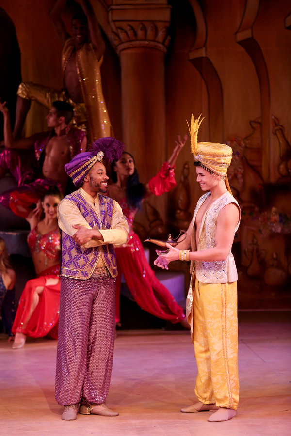 "Jay Donnell and Jason Gotay star in the LAGUNA PLAYHOUSE & LYTHGOE FAMILY PANTO production of ""ALADDIN AND HIS WINTER WISH"" - Directed and Choreographed by Spencer Liff and now playing at the Laguna Playhouse in Laguna Beach."