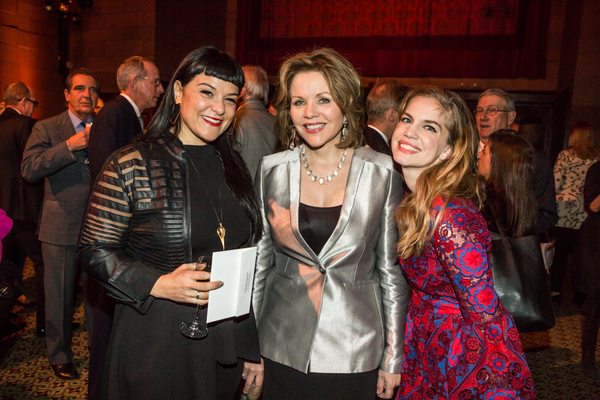 Producer Beth Morrison with honoree Renée Fleming and artist Anna Chlumsky at the 83rd Annual Metropolitan Opera Guild Luncheon at Cipriani 42nd Street on December 7, 2017