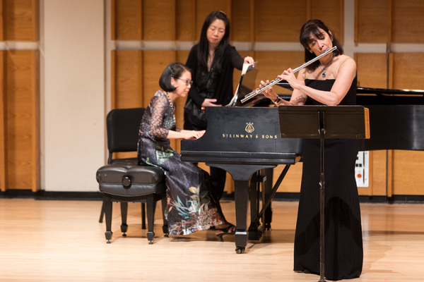 Fellow guests Elizabeth Mann, principal flutist for the Orchestra of St. Luke's performs Prokofiev's Flute Sonata with pianist Donna Weng in advance of their upcoming concert at Princeton
