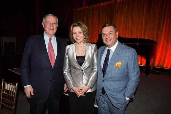 Chairman of the Metropolitan Opera Guild, Winthrop Rutherfurd with Honoree Renee Fleming and President of the Metropolitan Opera Guild, Richard J. Miller Jr.