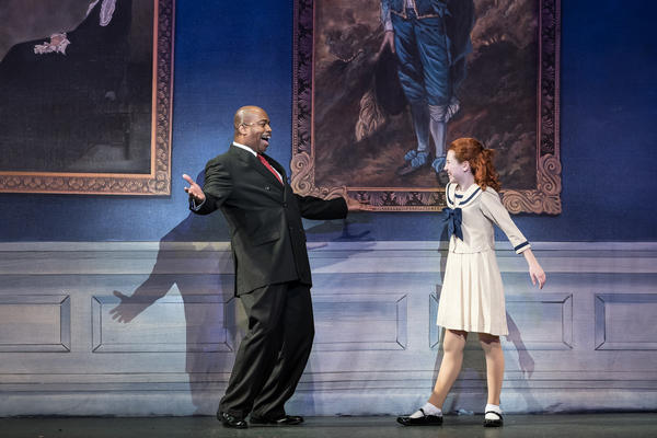 Lance Roberts as Oliver Warbucks and Carly Gendell as Annie
