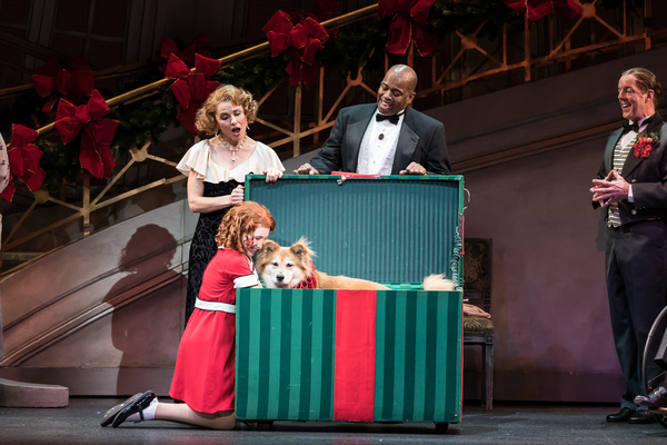 Ann Michels as Grace Ferrell, Lance Roberts as Oliver Warbucks, and Carly Gendell as Annie