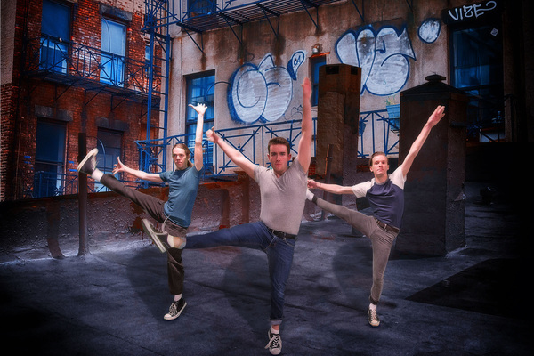 """From left, David Williamson, Evan Krug, and Matthew Snyder are ready to dance in """"West Side Story,�"""