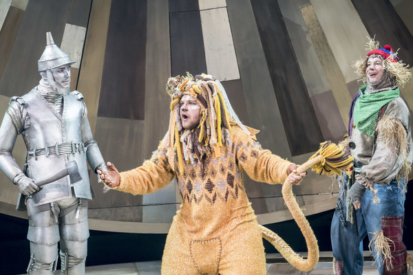 Max Parker as Tin Man, Jonathan Broadbent as Lion and Andrew Langtree as Scarecrow