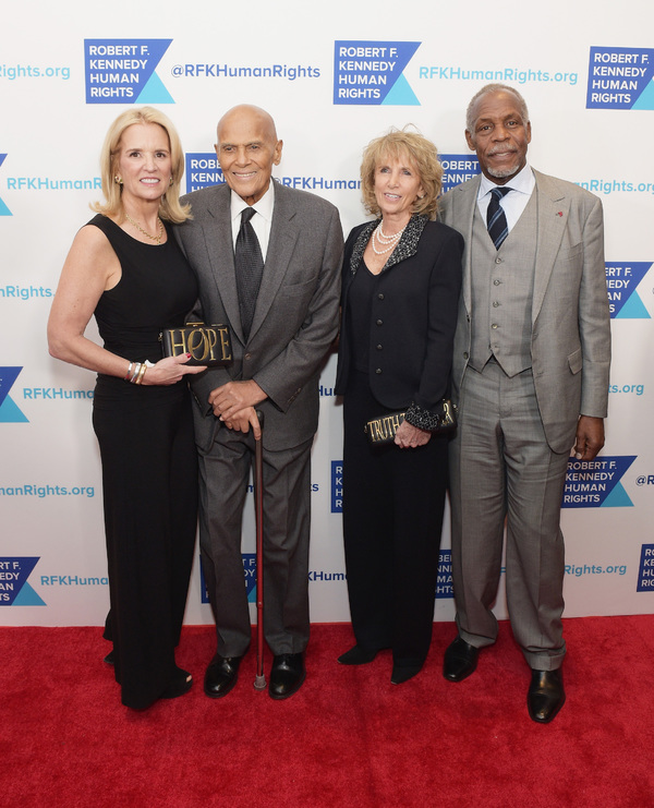 NEW YORK, NY - DECEMBER 13:  (L-R) Kerry Kennedy, Harry Belafonte, Pamela Frank and Danny Glover attend Robert F. Kennedy Human Rights Hosts Annual Ripple Of Hope Awards Dinner on December 13, 2017 in New York City.  (Photo by Jason Kempin/Getty Images fo