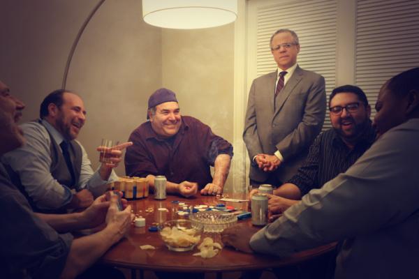 David R. Feiler (Speed), Scott Schwartz (Vinnie), Neal Goldman (Oscar), Lewis R. Jones (Felix), Scott Spector (Roy), and Anthony C. Brown (Murray) have a laugh during an evening of poker.