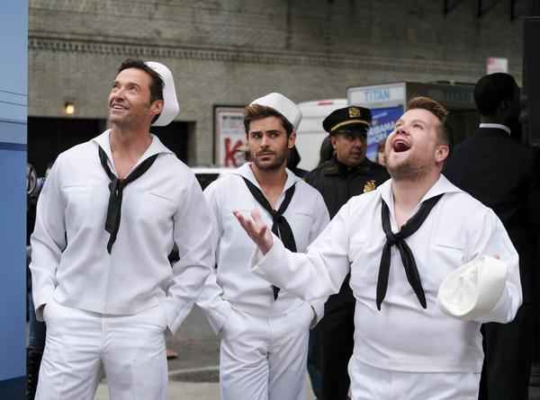 Hugh Jackman, Zac Efron and James Corden during Crosswalk The Musical in New York Cit Photo