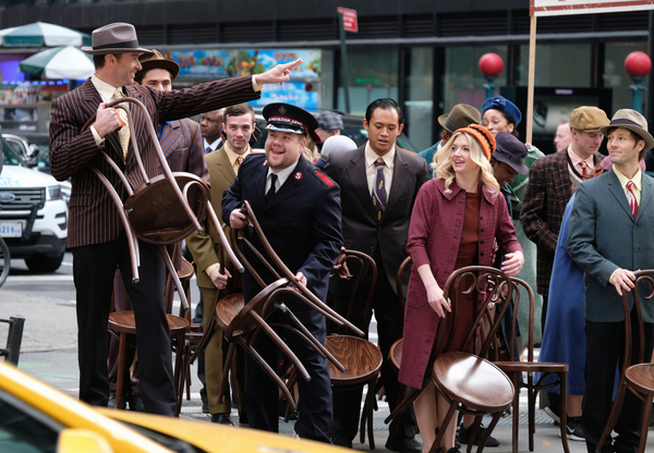 Hugh Jackman, James Corden perform in Crosswalk The Musical in New York City Photo
