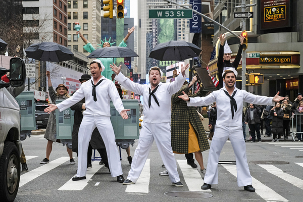 Hugh Jackman, James Corden, and Zac Efron perform in Crosswalk The Musical in New York City