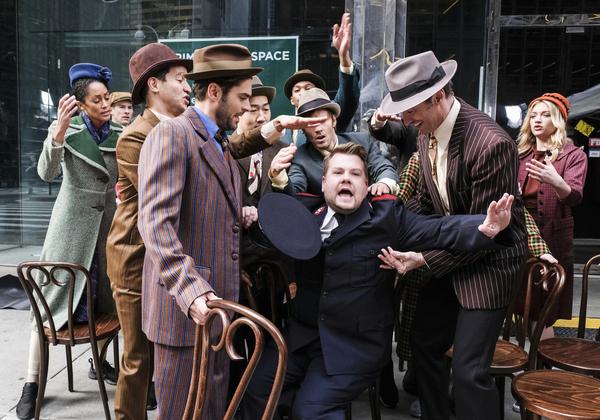Zac Efron, James Corden, and Hugh Jackman perform in Crosswalk The Musical in New Yor Photo