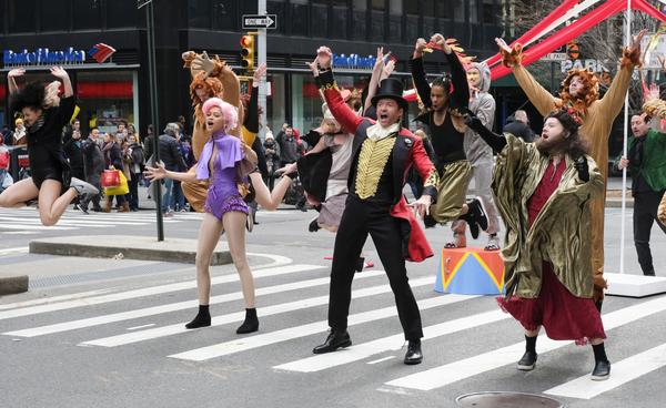 Zendaya, Hugh Jackman, and James Corden perform in Crosswalk The Musical in New York  Photo
