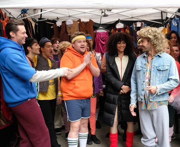Hugh Jackman, James Corden, Zendaya and Zac Efron perform in Crosswalk The Musical in Photo
