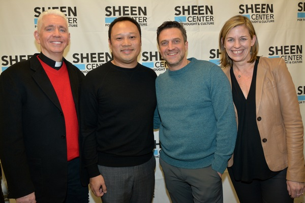 Father Edward L. Beck, C.P., Raul Esparza, David Fontanila (Sheen Center Board of Directors) and Laura Moore Brown