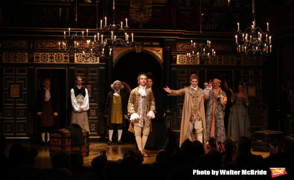 Sam Crane with Mark Rylance and the cast
