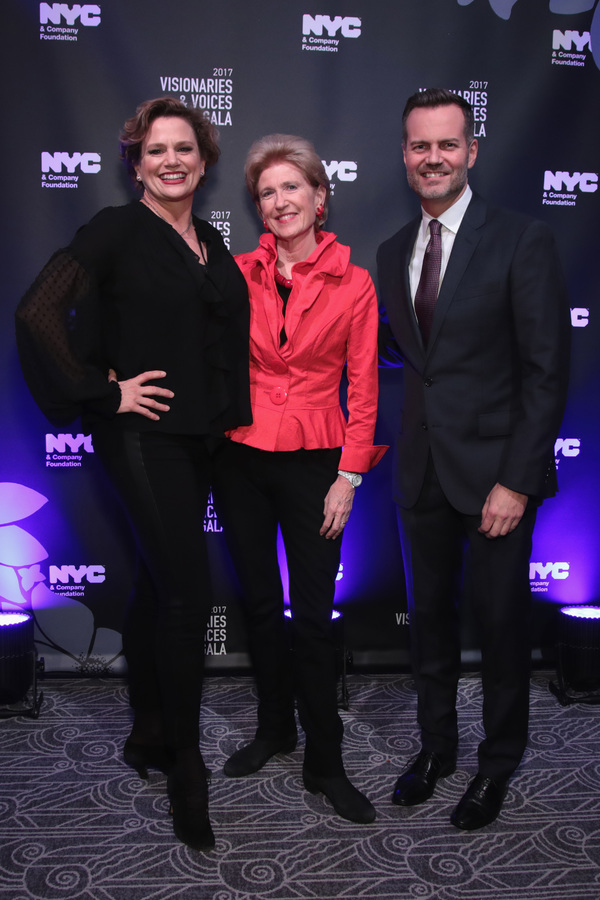 NEW YORK, NY - DECEMBER 18:  (L-R) Actress Cady Huffman, Emily Rafferty of NYC & Company Board, and Fred Dixon of NYC & Company, attend the NYC & Company Foundation Visionaries & Voices Gala 2017 on December 18, 2017 in New York City.  (Photo by Cindy Ord