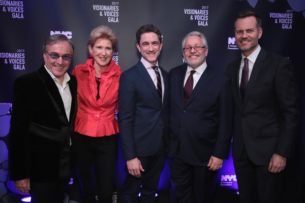 NEW YORK, NY - DECEMBER 18:  Daniel Lamarre, CEO of Cirque du Soleil, Emily Rafferty of NYC & Company Board, Danny Boockvar of NFL Experience,  Charlie Flateman of NYC & Company Board, and Fred Dixon of NYC & Company, attend the NYC & Company Foundation V