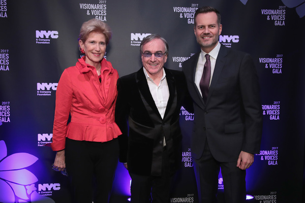 NEW YORK, NY - DECEMBER 18:  Emily Rafferty of NYC & Company Board, Daniel Lamarre, CEO of Cirque du Soleil, and Fred Dixon of NYC & Company, attend the NYC & Company Foundation Visionaries & Voices Gala 2017 on December 18, 2017 in New York City.  (Photo