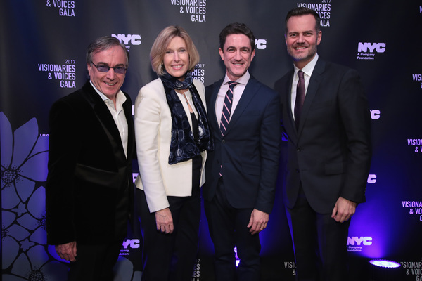 NEW YORK, NY - DECEMBER 18:  Daniel Lamarre, CEO of Cirque du Soleil, Dawn Hudson of the NFL, Danny Boockvar of NFL Experience, and Fred Dixon of NYC & Company, attend the NYC & Company Foundation Visionaries & Voices Gala 2017 on December 18, 2017 in New