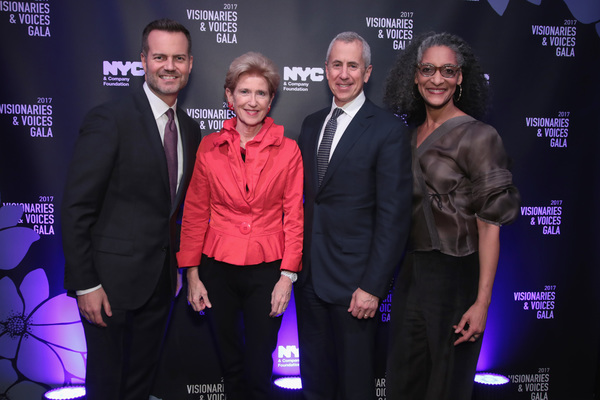 NEW YORK, NY - DECEMBER 18:  (L-R) Fred Dixon of NYC & Company, Emily Rafferty of NYC & Company Board, Danny Meyer of Union Sq Hospitality Group, and Carla Hall attend the NYC & Company Foundation Visionaries & Voices Gala 2017 on December 18, 2017 in New