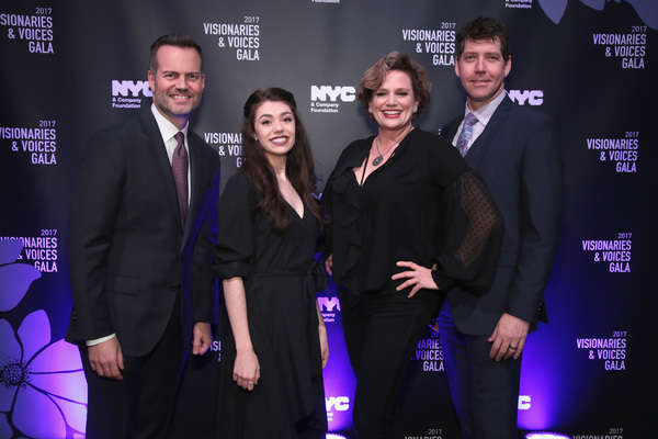 NEW YORK, NY - DECEMBER 18:  (L-R) Fred Dixon of NYC & Company, Kelly Ann Voorhees of Phantom of the Opera, Cady Huffman, and James Barbour of Phantom of the Opera attend the NYC & Company Foundation Visionaries & Voices Gala 2017 on December 18, 2017 in