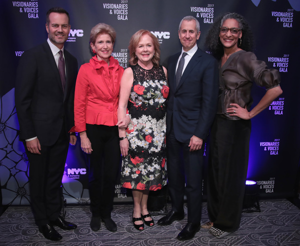 NEW YORK, NY - DECEMBER 18:  (L-R) Fred Dixon of NYC & Company, Emily Rafferty of NYC & Company Board, Susan Ungaro of James Beard Foundation, Danny Meyer of Union Sq Hospitality Group, and Carla Hall attend the NYC & Company Foundation Visionaries & Voic
