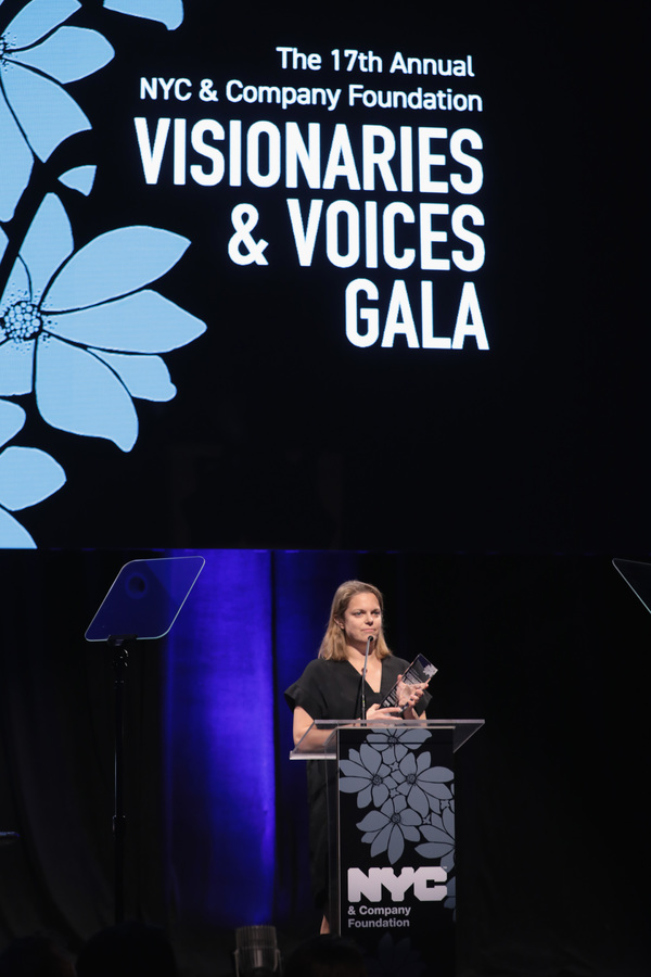 NEW YORK, NY - DECEMBER 18:  Tonia Davis of The Greatest Showman accepts an award onstage at the NYC & Company Foundation Visionaries & Voices Gala 2017 on December 18, 2017 in New York City.  (Photo by Cindy Ord/Getty Images for NY & Company)
