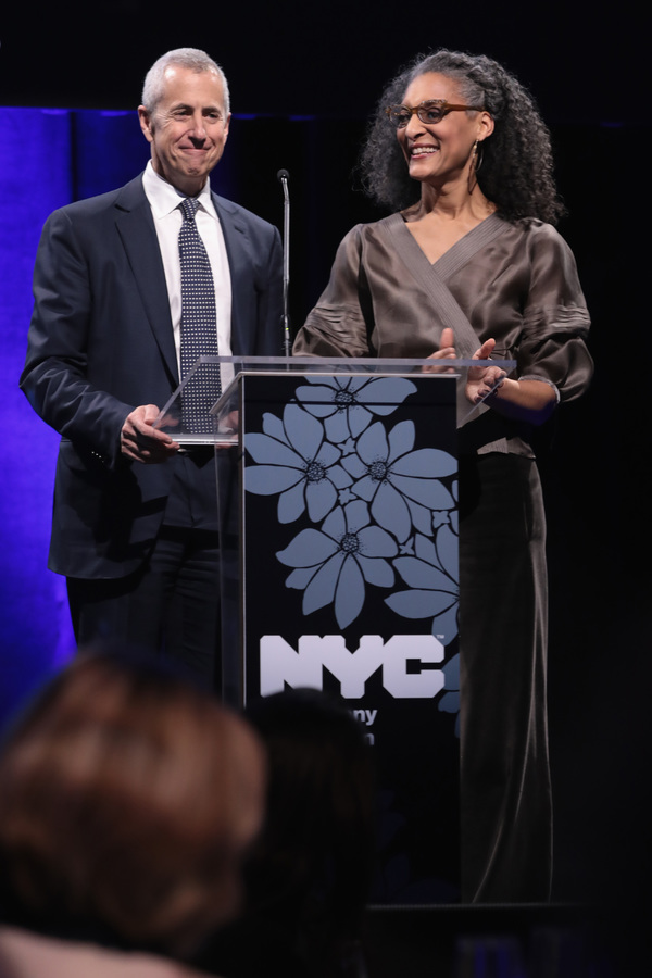 NEW YORK, NY - DECEMBER 18:  Danny Meyer and Carla Hall speak onstage at the  NYC & Company Foundation Visionaries & Voices Gala 2017 on December 18, 2017 in New York City.  (Photo by Cindy Ord/Getty Images for NY & Company)