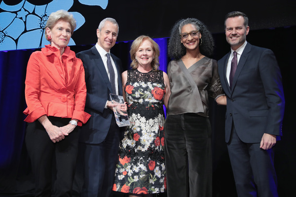 NEW YORK, NY - DECEMBER 18:  (L-R) Emily Rafferty of NYC & Company Board, Danny Meyer of Union Sq Hospitality Group, Susan Ungaro of James Beard Foundation, Carla Hall and Fred Dixon of NYC & Company, pose onstage during the NYC & Company Foundation Visio