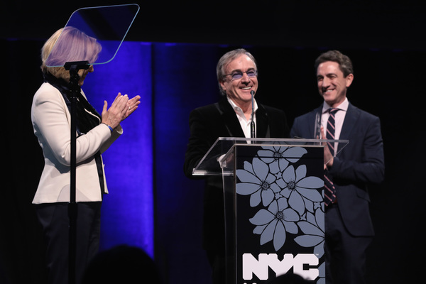 NEW YORK, NY - DECEMBER 18:  Dawn Hudson, Daniel Lamarre and Danny Boockvar speak onstage at NYC & Company Foundation Visionaries & Voices Gala 2017 on December 18, 2017 in New York City.  (Photo by Cindy Ord/Getty Images for NY & Company)