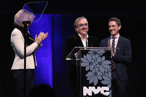 NEW YORK, NY - DECEMBER 18:  Dawn Hudson, Daniel Lamarre and Danny Boockvar speak ons Photo