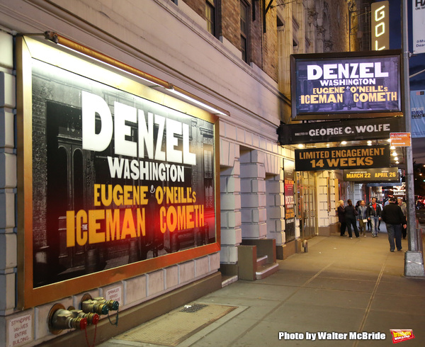 Theatre Marquee for Denzel Washington starring in the New Broadway Revival of Eugene O'Neill's 'The Iceman Cometh' at P Bernard B. Jacobs Theatre