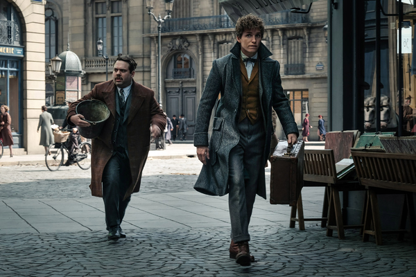 "(L-R) DAN FOGLER as Jacob and EDDIE REDMAYNE as Newt in Warner Bros. Pictures' fantasy adventure ""FANTASTIC BEASTS: THE CRIMES OF GRINDELWALD,"" a Warner Bros. Pictures release. Photo by Jaap Buitendijk"