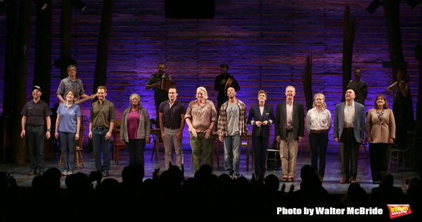 "The cast during the ""Come From Away"" Broadway Opening Night Curtain Call at the Gerald Schoenfeld Theatre on March 12, 2017 in New York City."