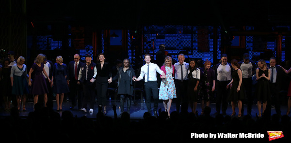 Julie Halston, Reggie Jackson, Danny Burstein, Maggie Gyllenhaal, Whoopi Goldberg, Matthew Morrison, Victoria Clark, Stephen Bogardus, Adrienne Warren, Annie Golden and cast during the Curtain Call for the Roundabout Theatre Company presents a One-Night B