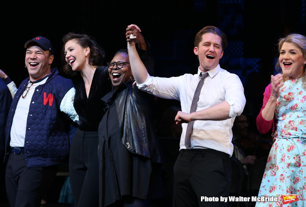 Reggie Jackson, Danny Burstein, Maggie Gyllenhaal, Whoopi Goldberg, Matthew Morrison, Victoria Clark during the Curtain Call for the Roundabout Theatre Company presents a One-Night Benefit Concert Reading of 'Damn Yankees' at the Stephen Sondheim Theatre