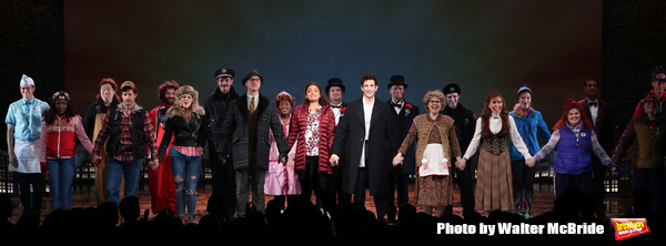 Barrett Doss and Andy Karl with cast during the Broadway Opening Night Curtain Call B Photo