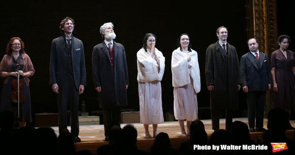 Lisa Gutkin, Aaron Halva, Tom Nelis, Adina Verson, Katrina Lenk, Richard Topal, Steven Rattazzi,and Mimi Lieber during the Broadway Opening Night Performance Curtain Call Bows for  'Indecent' at The Cort Theatre on April 18, 2017 in New York City.
