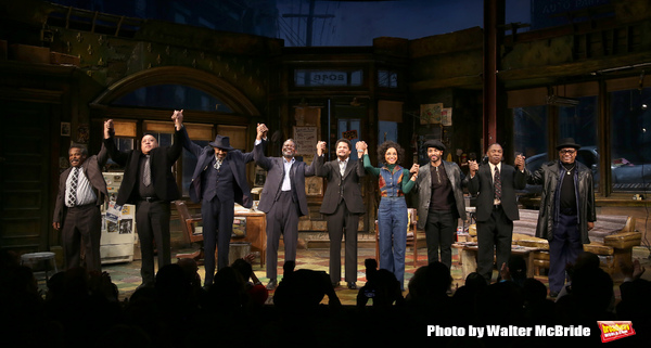 Ray Anthony Thomas, Keith Randolph Smith, Anthony Chisholm, John Douglas Thompson, Brandon J. Dirden, Carra Patterson, Andre Holland, Michael Potts, Harvy Blanks during August Wilson's 'Jitney' Broadway opening night curtain call at Samuel J. Friedman The