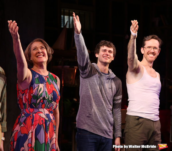 Karen Ziemba, Brandon Flynn, Jeffry Denman during the opening night performance curtain call for the Vineyard Theatre's 'Kid Victory' at the Vineyard Theatre on February 22, 2017 in New York City.