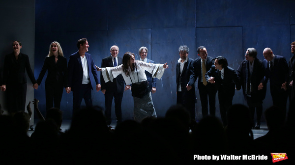 Clive Owen, Donald Holder, Julie Taymor, Elliot Goldenthal, David Henry Hwang, Ma Cong, Jin Ha, Constance Hoffman and Paul Steinberg with the cast  during the Broadway Opening Night performance Curtain Call for 'M. Butterfly' on October 26, 2017 at Cort T