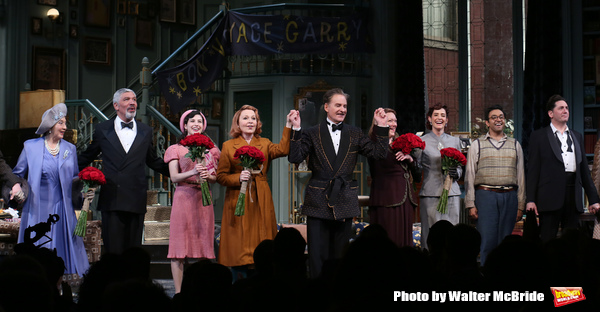 Matt Bittner, Sandra Shipley, Peter Francis James, Tedra Millan, Kate Burton, Kevin Kline, Kristine Nielsen, Cobie Smulders, Bhavesh Patel and Reg Rogers during Broadway Opening Night  curtain call for 'Present Laughter' at the St. James Theatre on April