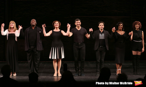 Emily Skinner, Chuck Cooper, Karen Ziemba, Tony Yazbeck, Brandon Uranowitz, Bryonha Marie Parham, and Janet Dacal during the Broadway Opening Night performance Curtain Call for 'The Prince of Broadway' at the Samuel J. Friedman Theatre on August 24, 2017