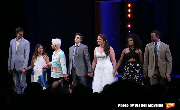 """John Behlmann, Sas Goldberg, Barbara Barrie, Gideon Glick, Lindsay Mendez, Rebecca Naomi Jones and Luke Smith during the Broadway Opening Night performance curtain call bows for """"Significant Other"""" at the Booth Theatre on March 2, 2017 in New York City."""