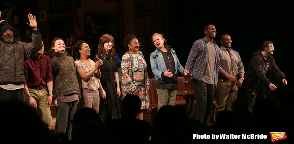 """John Earl Jelks, Carlo Alban, Alison Wright, Michelle Wilson, Kate Whoriskey, Lynn Nottage, Johanna Day, Khris Davis, Lance Coadie Williams and Will Pullen during curtain call bows for the Broadway Opening Night of """"Sweat"""" at Studio 54 on March 26, 2017 i"""