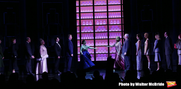 Patti Lupone and Christine Ebersole with John Dossett, Douglas Sills and the cast during the Broadway opening night performance curtain call for 'War Paint' at the Nederlander Theatre on April 6, 2017 in New York City