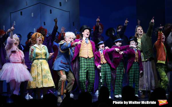 Emma Pfaeffle, Jackie Hoffman, John Rubinstein, Christian Borle, Jake Ryan Flynn, Ryan Sell, Ryan Foust, Emily Padgett, Michael Wartella and cast during the Broadway Opening Performance Curtain Call of 'Charlie and the Chocolate Factory' at the Lunt-Fonta