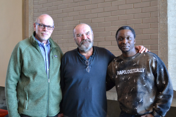 Arena Stage Executive Director Edgar Dobie, Jack Willis (President Lyndon Baines Johnson) and Bowman Wright (Dr. Martin Luther King, Jr.) at the first rehearsal of The Great Society running February 2-March 11, 2018 at Arena Stage at the Mead Center for A